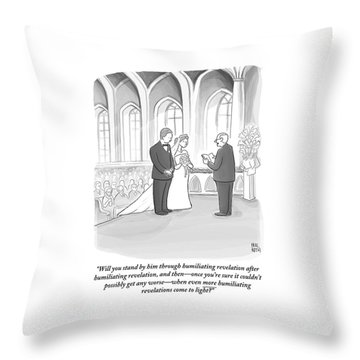 A Husband And Wife Are Getting Married Throw Pillow