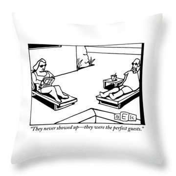 A Husband And Wife Recline Next To Their Pool Throw Pillow