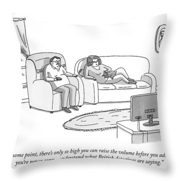 A Husband And Wife Watch Television Throw Pillow