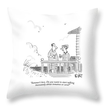 A Husband Talks To A Wife On A Porch Of A Beach Throw Pillow