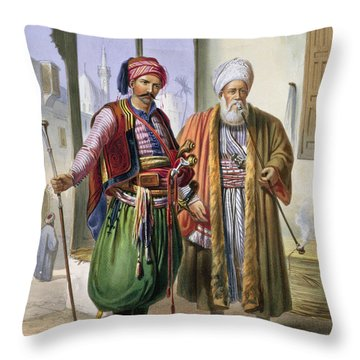 A Janissary And A Merchant In Cairo Throw Pillow