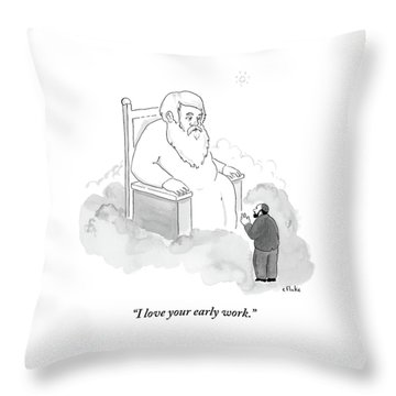 A Jew Talks To God On His Throne In Heaven Throw Pillow