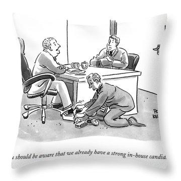 A Job Interviewer Tells An Interviewee Throw Pillow