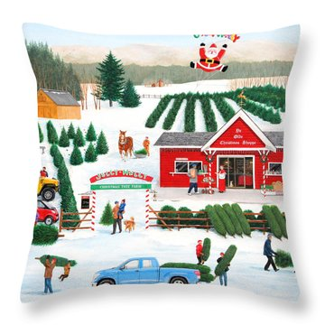 A Jolly Holly Holiday Throw Pillow