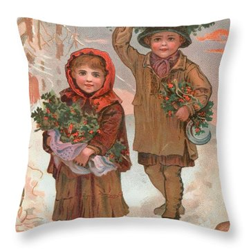 A Joyful Christmas To You   Victorian Christmas Card  Throw Pillow by English School