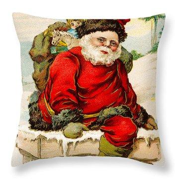 A Joyful Christmas Throw Pillow by Vintage Christmas Card