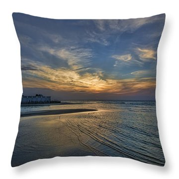 a joyful sunset at Tel Aviv port Throw Pillow by Ron Shoshani
