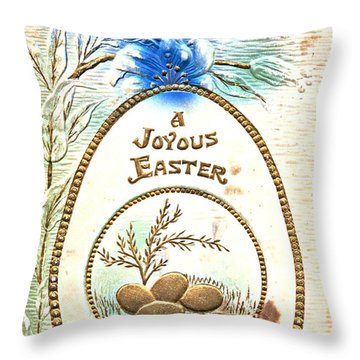 A Joyous Easter To You Vintage Postcard Throw Pillow