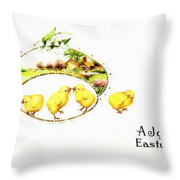 A Joyous Eastertide 1917 Vintage Postcard Throw Pillow