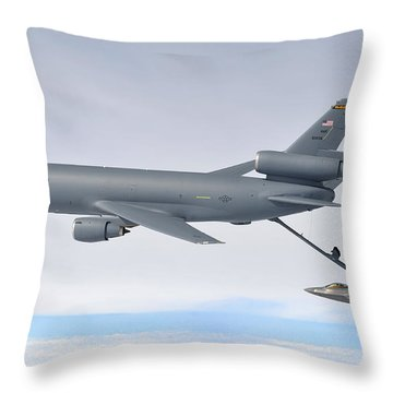 A Kc-10 Extender Refuels An F-22 Raptor Throw Pillow