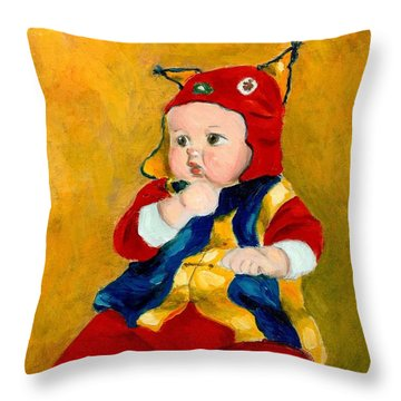 Throw Pillow featuring the painting A Kid Wearing Two Cultural Traditions by Jingfen Hwu
