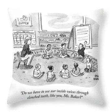 A Kindergartner Raises His Hand And Asks Throw Pillow