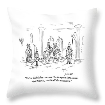 A King And Queen In The Royal Court Give Orders Throw Pillow by David Sipress