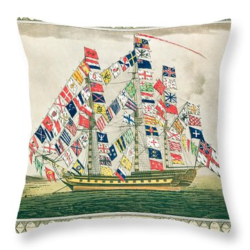 A King S Ship Dressed With The Colours Of Different Nations 6th October 1794 Throw Pillow by English School