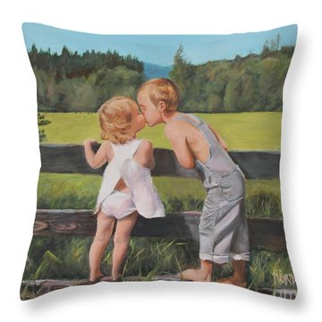 A Kiss For Little Sister Throw Pillow