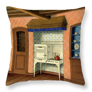 A Kitchen With An Old Fashioned Oven And Stovetop Throw Pillow