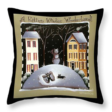 A Kitten Winter Wonderland Throw Pillow by Catherine Holman