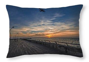 a kodak moment at the Tel Aviv port Throw Pillow by Ron Shoshani