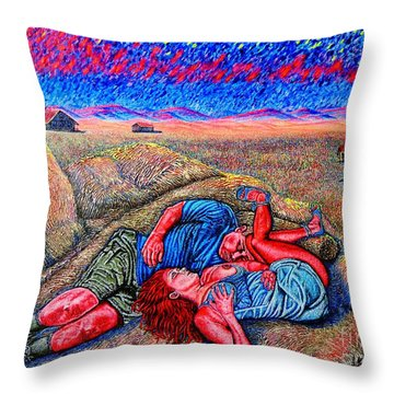 Throw Pillow featuring the painting A La Campagne/at The Country/ by Viktor Lazarev