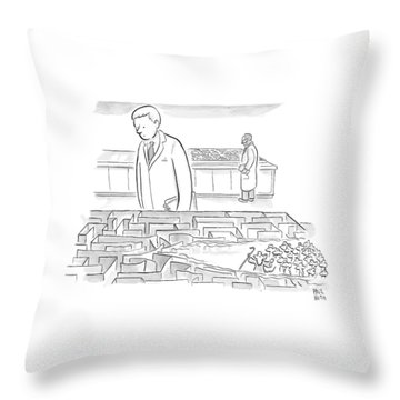 A Laboratory Scientist Looks On As The Walls Throw Pillow by Paul Noth