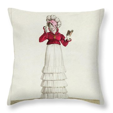 A Lady In A Levantine Hat Throw Pillow by Antoine Charles Horace Vernet