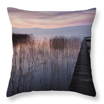 A Lake A Pier And Some Reeds Throw Pillow