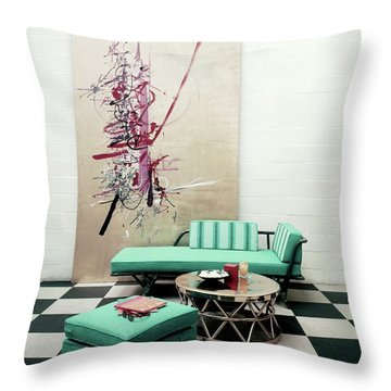 A Lanai Room With Ficks Reed Co Furniture Throw Pillow