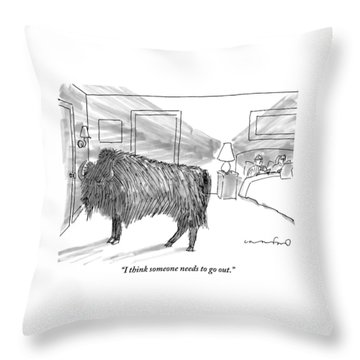 A Large Buffalo Stands Near The Door Throw Pillow by Michael Crawford