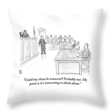 A Lawyer Makes His Case In Front Of A Jury Throw Pillow by Paul Noth