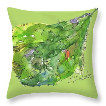 A Leaf Throw Pillow by Kathleen McElwaine