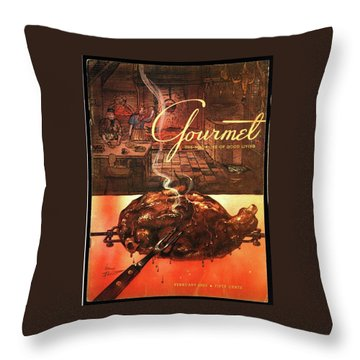 A Leg Of Lamb On A Spit Beneath An Etching Throw Pillow