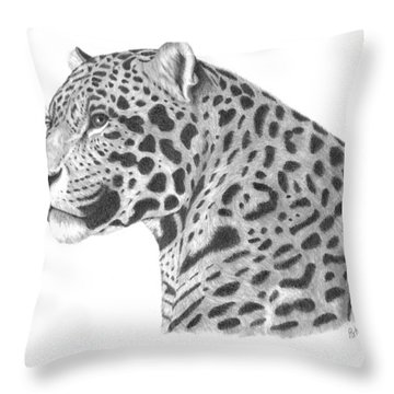 Throw Pillow featuring the drawing A Leopard's Watchful Eye by Patricia Hiltz