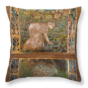 Throw Pillow featuring the painting A Life Of Peace And Plenty by Shahna Lax