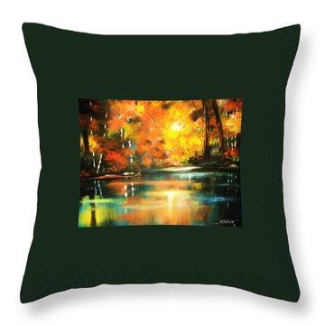 A Light In The Forest Throw Pillow by Al Brown