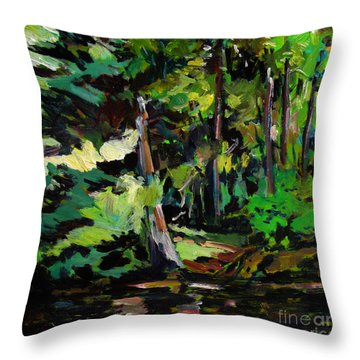 Throw Pillow featuring the painting A Light In The Forest by Charlie Spear