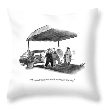 A Limousine Driver Helps A Drunk-looking Ceo Walk Throw Pillow