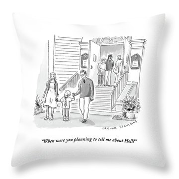 A Little Boy Speaks To His Parents Throw Pillow