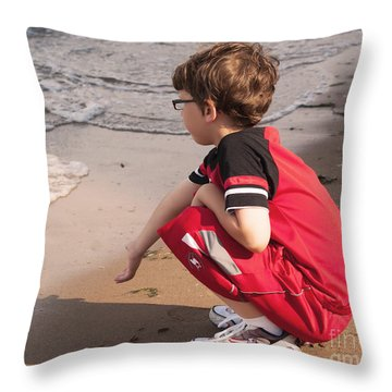 Throw Pillow featuring the photograph A Little Boy's Wave by B Wayne Mullins
