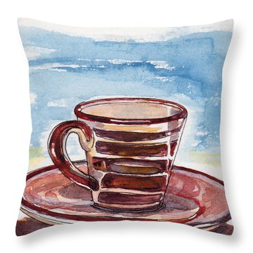 Throw Pillow featuring the painting A Little Espresso by Julie Maas