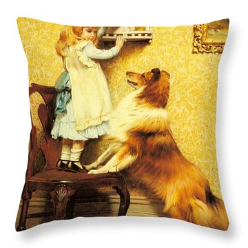 A Little Girl And Her Sheltie Throw Pillow by Charles Burton Barber
