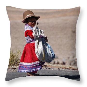 A Little Girl In The  High Plain Throw Pillow by RicardMN Photography