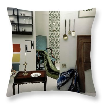 A Living Room Designed By Raleigh Tavern Throw Pillow