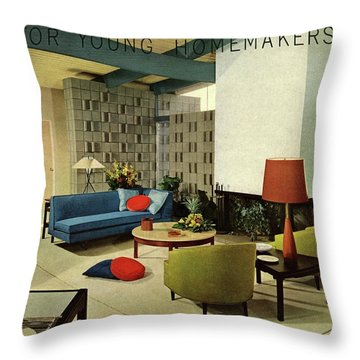 A Living Room With Carpeting By Callaway Throw Pillow
