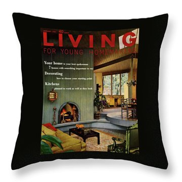 A Living Room With Sherwin-williams Wood-paneling Throw Pillow