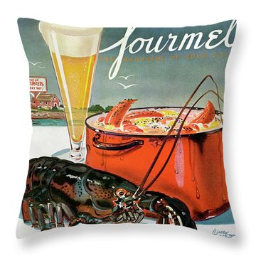 A Lobster And A Lobster Pot With Beer Throw Pillow