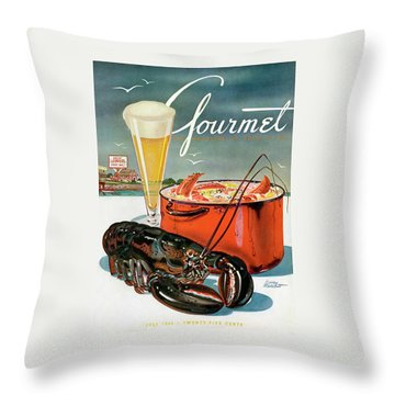 A Lobster And A Lobster Pot With Beer Throw Pillow by Henry Stahlhut