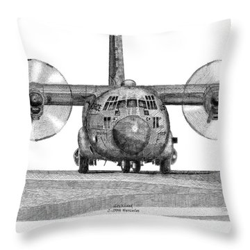 Throw Pillow featuring the drawing A Lockheed C-130h Hercules by Arthur Eggers