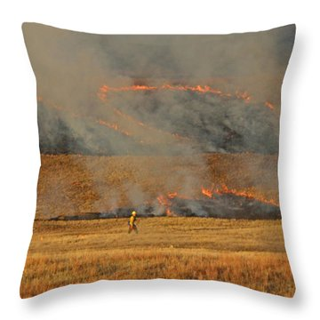 A Lone Firefighter On The Norbeck Prescribed Fire. Throw Pillow