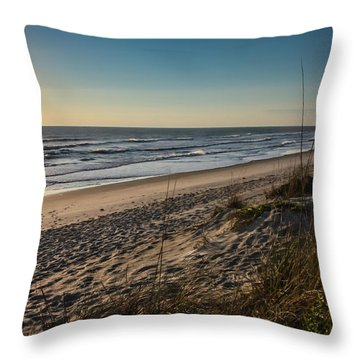 A Lonely Beach At Sunrise Throw Pillow