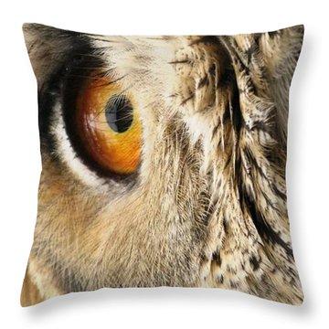 Throw Pillow featuring the photograph Bubo Bubo- Eurasian Eagle Owl. Close Up. by Ausra Huntington nee Paulauskaite